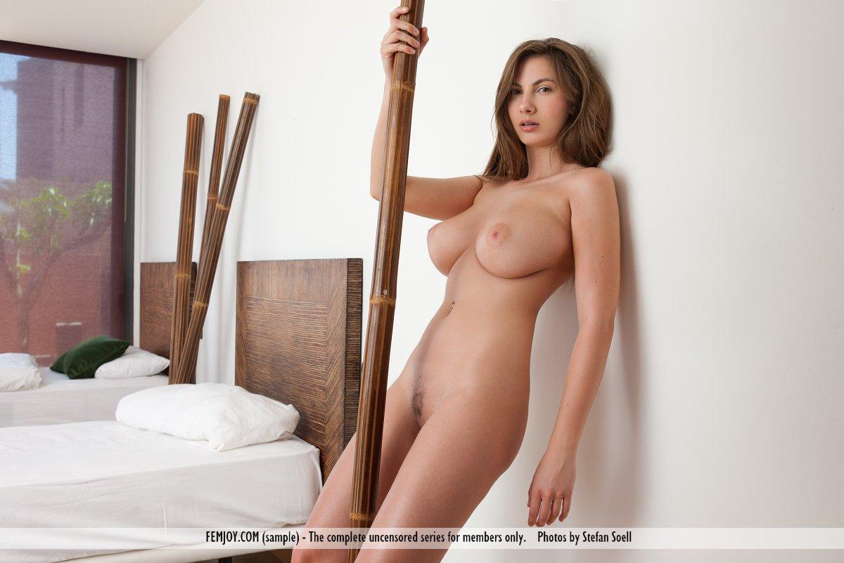 Похотливая брюнетка Connie Carter позирует обнаженной, показывает свои сиськи и круглую попку