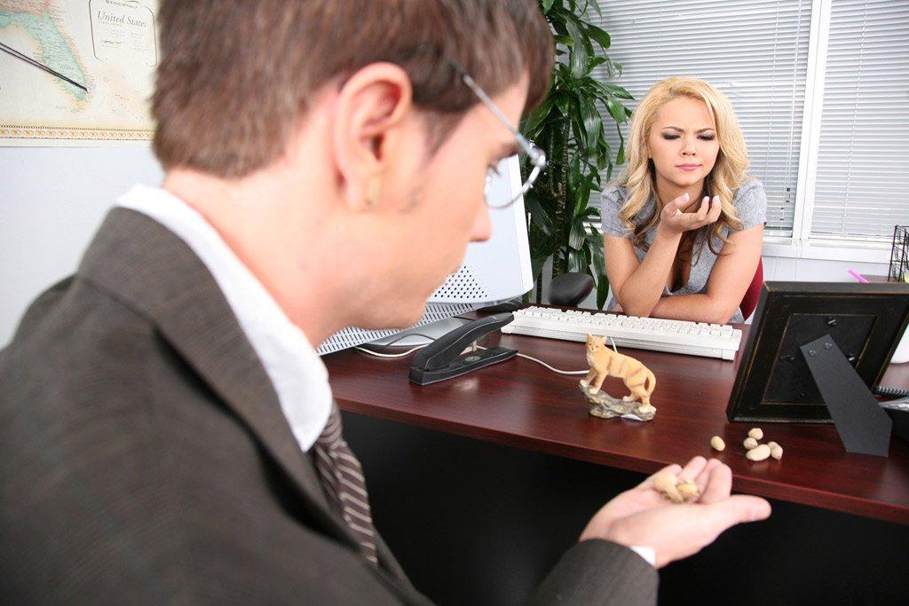 Офисная сучка с сексуальным телом Ashlynn Brooke снимает одежду и трахается на столе